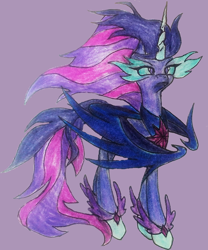 Size: 684x821 | Tagged: safe, artist:mysteriousshine, twilight sparkle, alicorn, pony, equestria girls, equestria girls ponified, female, mare, midnight sparkle, ponified, simple background, solo, traditional art