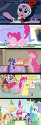 Size: 1920x5765 | Tagged: safe, edit, edited screencap, screencap, applejack, donut joe, fluttershy, gustave le grande, mulia mild, pinkie pie, princess celestia, rarity, twilight sparkle, alicorn, earth pony, griffon, pony, unicorn, a friend in deed, hearth's warming eve (episode), luna eclipsed, mmmystery on the friendship express, swarm of the century, animal costume, batter, cake, cake batter, cartoon physics, chicken pie, chicken suit, clothes, comic, costume, eating, female, food, gluttony, hearth's warming eve, hub logo, long tongue, male, mare, marzipan mascarpone meringue madness, mouth, pinkie being pinkie, puffy cheeks, stallion, text, tongue out, unicorn twilight