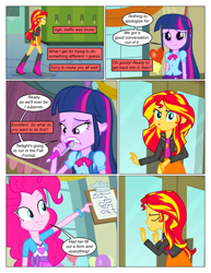 Size: 612x792 | Tagged: safe, artist:greatdinn, artist:newbiespud, edit, edited screencap, screencap, pinkie pie, sunset shimmer, twilight sparkle, comic:friendship is dragons, equestria girls, equestria girls (movie), clipboard, clothes, collaboration, comic, dialogue, eyes closed, female, pen, screencap comic