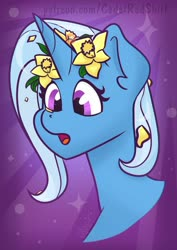 Size: 1280x1803 | Tagged: safe, artist:cadetredshirt, trixie, pony, unicorn, bust, ear fluff, female, floral head wreath, flower, flower in hair, gradient background, head, horn, mare, shocked, simple background, solo, surprised, surprised face, two toned mane