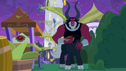 Size: 1920x1080 | Tagged: safe, screencap, lord tirek, centaur, the summer sun setback, spoiler:s09e17, cloven hooves, colored hooves, dessert, food, male, nose piercing, nose ring, pie, piercing, pure unfiltered evil, solo