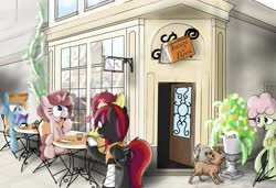 Size: 3660x2498 | Tagged: safe, oc, oc only, oc:night raven, dog, golden retriever, pegasus, pony, unicorn, book, cafe, chair, coffee, coffee mug, corner, drinking, female, flower, male, mare, mug, reading, relaxing, scenery, sitting, stallion, table
