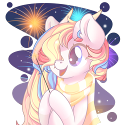 Size: 2100x2100 | Tagged: safe, artist:musicfirewind, oc, oc:rainbow dreams, pegasus, pony, clothes, female, fireworks, hair over one eye, hoof hold, horn, scarf, simple background, transparent background, ych result