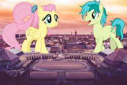 Size: 3000x2000 | Tagged: safe, artist:cloudyglow, artist:jerryakiraclassics19, fluttershy, sandbar, earth pony, pegasus, pony, the last problem, spoiler:s09e26, building, copenhagen, denmark, duo, female, giant pony, giantess, highrise ponies, irl, macro, male, mare, older, older fluttershy, older sandbar, photo, ponies in real life, raised hoof, stallion, story included, sunrise