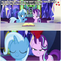 Size: 1000x1000 | Tagged: safe, edit, edited screencap, editor:thor-disciple, screencap, starlight glimmer, trixie, all bottled up, anger magic, angry, book, caption, cutie map, image macro, implied iron will, implied police brutality, implied police officer, magic, meme, smiley face, smiling, text, throne room, twilight's castle
