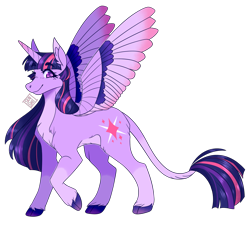 Size: 1458x1322 | Tagged: safe, artist:sensh-ii, twilight sparkle, alicorn, cloven hooves, colored wings, colored wingtips, eyebrows visible through hair, leonine tail, looking at you, redesign, signature, simple background, smiling, socks (coat marking), solo, speedpaint available, spread wings, transparent background, twilight sparkle (alicorn), wings