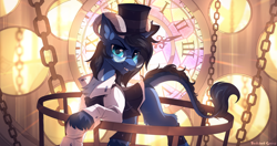 Size: 2300x1217 | Tagged: safe, artist:redchetgreen, oc, oc only, oc:zephyr tone, original species, pony, clock, clothes, cute, glasses, handsome, hat, longmoran, looking at you, male, solo, suit, top hat, unshorn fetlocks