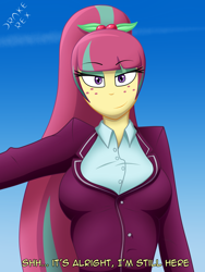 Size: 1500x2000 | Tagged: safe, artist:drake-rex, sour sweet, equestria girls, big breasts, breasts, busty sour sweet, clothes, freckles, school uniform, solo, text