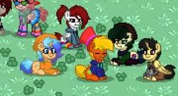 Size: 720x392 | Tagged: safe, screencap, oc, oc only, alicorn, earth pony, pegasus, pony, unicorn, pony town, clothes, clover, cute, eyes closed, grass, group photo, hat, heterochromia, sitting, socks, striped socks, sweater