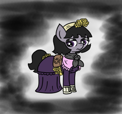 Size: 640x600   Tagged: safe, artist:ficficponyfic, part of a set, oc, oc only, oc:mulberry telltale, cyoa:madness in mournthread, boots, clothes, colored, cyoa, despondent, dress, eyeshadow, female, flower, headband, makeup, mare, mystery, neckerchief, part of a series, pointy nose, sad, satchel, scarf, shoes, simple background, solo, story included, tail wrap