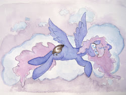 Size: 4032x3024 | Tagged: safe, artist:papersurgery, princess luna, alicorn, pony, cloud, female, looking at you, lying down, lying on a cloud, mare, on a cloud, solo, traditional art, watercolor painting