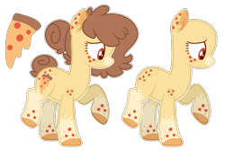 Size: 1462x980 | Tagged: safe, artist:luqella, oc, oc:candied pizza, food pony, original species, pizza pony, bald, base used, female, pizza, simple background, solo, transparent background