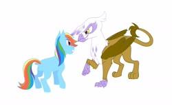 Size: 1280x781 | Tagged: safe, artist:vio-creayta, gilda, rainbow dash, griffon, pony, alternate design, female, gildash, lesbian, shipping, simple background, white background