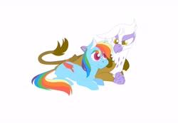 Size: 9110x6300 | Tagged: safe, artist:vio-creayta, gilda, rainbow dash, griffon, pony, absurd resolution, alternate design, female, gildash, lesbian, prone, shipping, simple background, white background