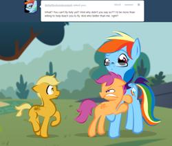 Size: 900x766   Tagged: safe, artist:askmerriweatherauthor, rainbow dash, scootaloo, oc, oc:meadow lark (ask merriweather), pegasus, pony, ask merriweather, colt, glasses, male