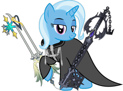 Size: 3037x2256 | Tagged: safe, artist:sketchmcreations, trixie, pony, unicorn, clothes, coat, dual wield, female, keyblade, kingdom hearts, lidded eyes, looking at you, mare, nobody, oathkeeper, oblivion, organization xiii, raised hoof, roxas, simple background, smiling, transparent background, vector, weapon