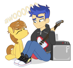 Size: 975x900   Tagged: safe, artist:dm29, feather bangs, flash sentry, earth pony, pony, equestria girls, awoo, converse, guitar, musical instrument, shoes, simple background, transparent background, vincent tong, voice actor joke