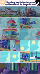 Size: 1280x2350   Tagged: safe, artist:phucknuckl, princess celestia, princess luna, twilight sparkle, alicorn, pony, between dark and dawn, spoiler:s09e13, alternate hairstyle, bed, female, floppy ears, mare, messy mane, open mouth, royal sisters, seaward shoals, silver stable community, sleeping, sun, telescope, twilight sparkle (alicorn)