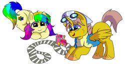 Size: 1280x656 | Tagged: safe, artist:rainbowtashie, oc, oc:heartstrong flare, oc:rainbow tashie, alicorn, earth pony, pony, alicorn oc, clothes, commissioner:bigonionbean, conductor hat, fusion, fusion:heartstrong flare, glasses, goggles, hat, male, simple background, stallion, toy, toy train, transparent background, uniform, wonderbolt trainee uniform, writer:bigonionbean
