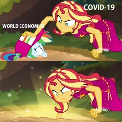 Size: 1078x1080 | Tagged: safe, edit, edited screencap, screencap, rainbow dash, sunset shimmer, equestria girls, equestria girls series, spring breakdown, spoiler:eqg series (season 2), clothes, coronavirus, covid-19, dress, eye contact, frown, geode of empathy, glare, glow, gritted teeth, hat, looking at each other, magical geodes, meme, metaphor, pushing, quicksand, quicksand meme, scared, sparkles, wat, wide eyes