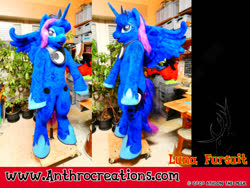 Size: 1200x900 | Tagged: safe, artist:atalonthedeer, princess luna, alicorn, anthro, furry, fursuit, irl, photo, plants, ponysuit