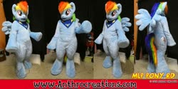 Size: 1263x632 | Tagged: safe, artist:atalonthedeer, rainbow dash, anthro, pegasus, pony, fursuit, ponysuit