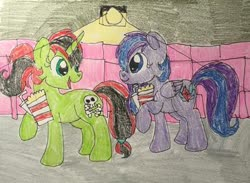 Size: 400x292 | Tagged: safe, oc, oc only, oc:cassie micheals, oc:pony adean, pegasus, unicorn, cinema, drink, food, popcorn, traditional art