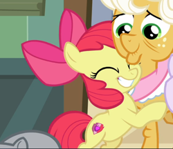 Size: 730x631 | Tagged: safe, screencap, apple bloom, goldie delicious, going to seed, spoiler:s09e10, adorabloom, cropped, cute, hug, smiling, solo focus
