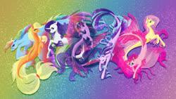 Size: 1920x1080   Tagged: safe, artist:oneiria-fylakas, applejack, fluttershy, pinkie pie, rainbow dash, rarity, starlight glimmer, twilight sparkle, seapony (g4), curved horn, female, hatless, horn, mane six, missing accessory, seaponified, species swap, underwater