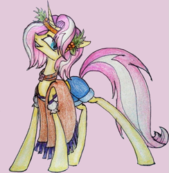 Size: 621x637 | Tagged: safe, artist:mysteriousshine, vignette valencia, pony, unicorn, equestria girls, equestria girls series, rollercoaster of friendship, clothes, equestria girls ponified, female, grin, holly, mare, pants, ponified, scarf, simple background, smiling, solo, traditional art