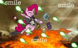 Size: 1600x1000 | Tagged: safe, artist:bill1788, pinkie pie, fallout equestria, grenade, photoshop