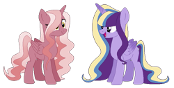 Size: 839x427 | Tagged: safe, artist:foxfoxfire, oc, oc only, alicorn, pony, base used, blank flank, duo, female, hair over one eye, magical lesbian spawn, mare, multicolored hair, offspring, parent:pinkie pie, parent:princess cadance, parent:twilight sparkle, parents:cadancepie, parents:twidance, simple background, transparent background