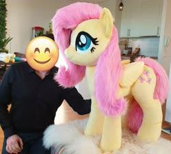Size: 2928x2640 | Tagged: safe, artist:epicrainbowcrafts, fluttershy, human, pegasus, pony, female, irl, irl human, life size, mare, photo, plushie