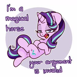 Size: 1599x1579 | Tagged: safe, artist:lou, starlight glimmer, pony, unicorn, abstract background, circle background, crossed legs, dialogue, lidded eyes, lying down, open mouth, solo, truth, your argument is invalid