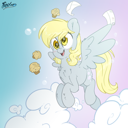 Size: 3500x3500   Tagged: safe, alternate version, artist:fluffyxai, derpy hooves, pegasus, pony, blushing, chest fluff, cloud, cute, derpabetes, ear fluff, envelope, eye clipping through hair, female, flying, food, high res, leg fluff, letter, mare, muffin, open mouth, solo, spread wings, wings