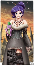 Size: 1100x2078 | Tagged: safe, artist:johnjoseco, artist:king-kakapo, rarity, spike, human, alternate hairstyle, breasts, busty rarity, cleavage, clothes, collaboration, colored, doll, dress, final fantasy, final fantasy x, hair bun, hairpin, humanized, lulu (final fantasy), simple background, solo, toy