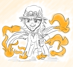 Size: 2000x1849   Tagged: safe, artist:shinycyan, oc, oc:shinycyan, pegasus, clothes, confident, cosplay, costume, crossplay, digital art, fire, food, hat, one piece, orange, pirate, portgas d ace, smiley face, solo, tattoo