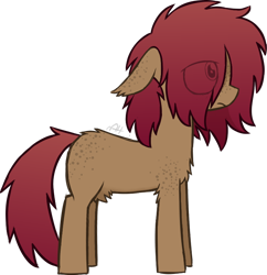 Size: 720x744 | Tagged: safe, alternate version, artist:modocrisma, oc, oc only, oc:sobakasu, earth pony, pony, background removed, blank flank, butt fluff, butt freckles, chest fluff, color palette, colored sketch, ear fluff, ear freckles, eye clipping through hair, fluffy, freckles, full body, hidden eyes, male, ponysona, shoulder fluff, shoulder freckles, simple background, solo, standing, teenager, transparent background, watermark