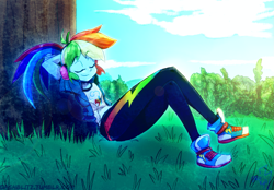 Size: 1447x1005   Tagged: safe, artist:manic-the-lad, rainbow dash, equestria girls, a dash of everything, alternate hairstyle, converse, shoes, solo