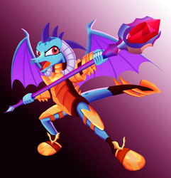 Size: 2290x2372 | Tagged: safe, artist:leonkay, princess ember, dragon, armor, bloodstone scepter, dragon armor, dragon lord ember, dragoness, female, open mouth, solo, spread wings, wings