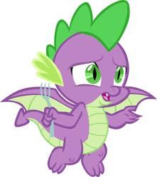 Size: 5314x6001 | Tagged: safe, artist:memnoch, spike, dragon, fork, male, simple background, solo, spread wings, transparent background, vector, winged spike, wings