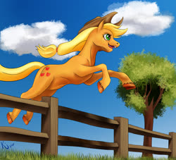 Size: 3300x3000 | Tagged: safe, artist:tauts05, applejack, earth pony, pony, cloud, colored hooves, cowboy hat, female, fence, hat, high res, jumping, mare, solo, tree, underhoof, unshorn fetlocks