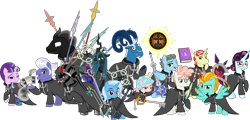 Size: 2992x1440 | Tagged: safe, artist:sketchmcreations, cozy glow, flim, gladmane, grogar, king sombra, lightning dust, pony of shadows, principal abacus cinch, queen chrysalis, starlight glimmer, svengallop, trixie, wind rider, changeling, changeling queen, earth pony, pegasus, pony, sheep, umbrum, unicorn, book, card, chakram, claymore, clothes, coat, crystal ball, equestria girls ponified, female, filly, grogar's orb, group, group shot, guitar, keyblade, kingdom hearts, kingdom key, knife, male, mare, musical instrument, nobody, oathkeeper, oblivion, organization xiii, playing card, ponified, ram, s5 starlight, scythe, shield, simple background, spear, stallion, transparent background, vector, wall of tags, weapon, wing hands, wings