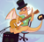 Size: 1053x999 | Tagged: safe, artist:ninji, oc, oc:myoozik the dragon, dragon, dragon oc, electric guitar, glasses, guitar, hat, male, musical instrument, speakers