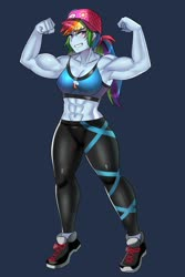 Size: 800x1200 | Tagged: safe, artist:tzc, rainbow dash, equestria girls, abs, anime, armpits, clothes, flexing, grin, muscles, pants, rainbuff dash, shoes, smiling, sneakers, sports bra
