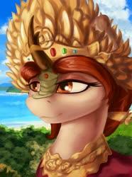 Size: 1280x1724 | Tagged: safe, artist:dukevonkessel, kirin, equestria at war mod, bust, crown, female, jewelry, makeup, portrait, regalia, smiling, solo