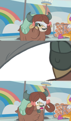 Size: 1356x2284 | Tagged: safe, edit, edited screencap, screencap, smolder, yona, yak, 2 4 6 greaaat, spoiler:s09e15, blindfold, bow, cloven hooves, female, hair bow, meme template, monkey swings, peeking, simple background, template, transparent background
