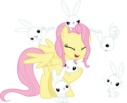 Size: 3698x3000 | Tagged: safe, artist:cloudyglow, fluttershy, pegasus, pony, rabbit, the last problem, .ai available, animal, older, older fluttershy, simple background, transparent background, vector