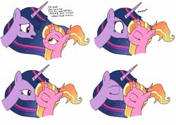 Size: 1280x910   Tagged: safe, alternate version, artist:eagc7, artist:yuettung116, luster dawn, twilight sparkle, alicorn, unicorn, the last problem, spoiler:s09e26, colored, comic, dialogue, duo, eyes closed, female, kissing, lesbian, lusterlight, older, older twilight, princess twilight 2.0, shipping, simple background, smiling, surprise kiss, twilight sparkle (alicorn)