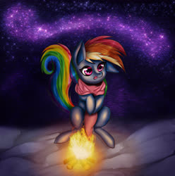 Size: 5096x5128 | Tagged: safe, artist:omniscientx, rainbow dash, pegasus, pony, campfire, clothes, female, mare, night, night sky, scarf, sky, solo, stars, tongue out